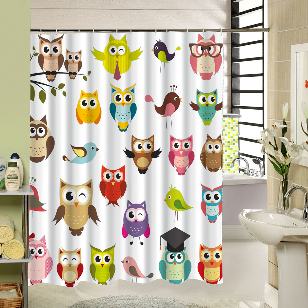 The Cartooon Different Kind Expressions Cute Owl Bird Fabric Shower Curtain Custom 3d Print Machine Washable Bathroom Curtain