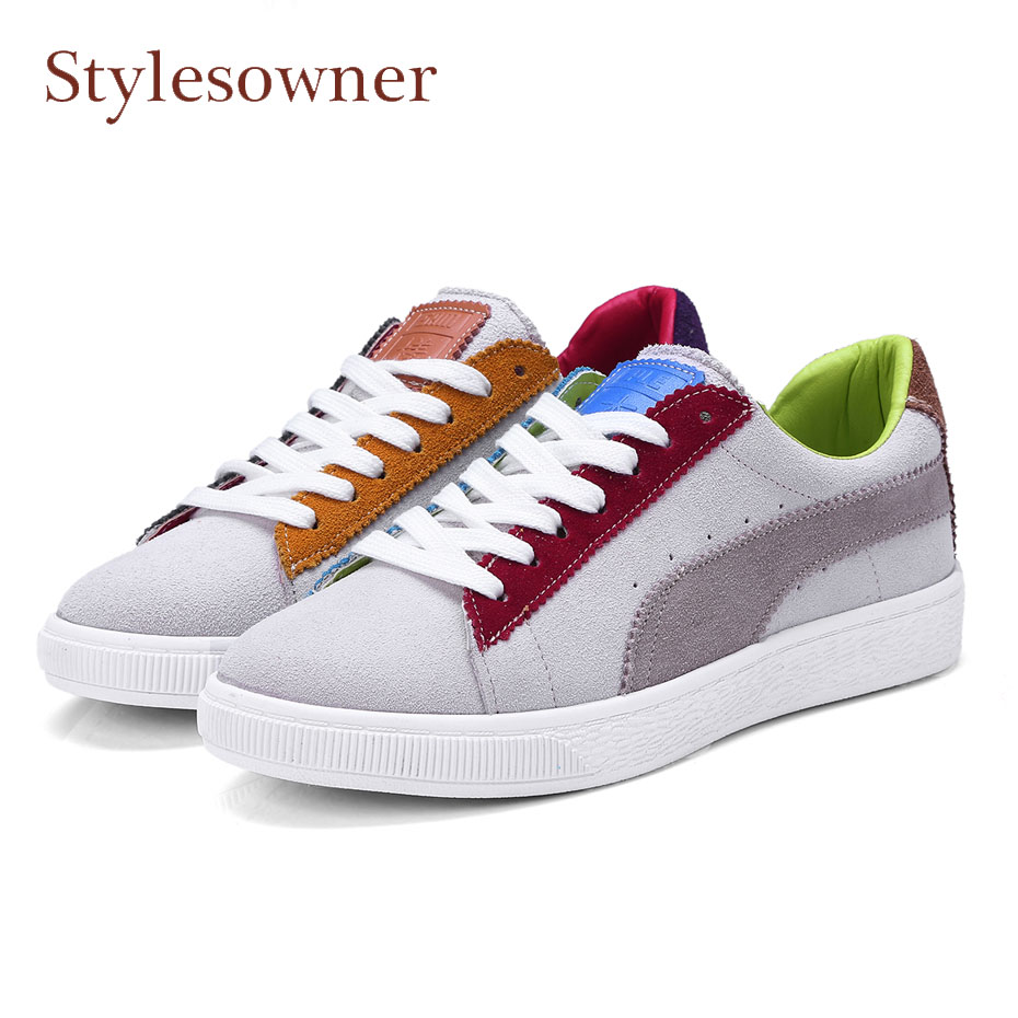 Stylesowner 2018 spring new mixed color lace up women flat shoes suede leather round toe rubber sole casual sneaker shoes female front lace up casual ankle boots autumn vintage brown new booties flat genuine leather suede shoes round toe fall female fashion