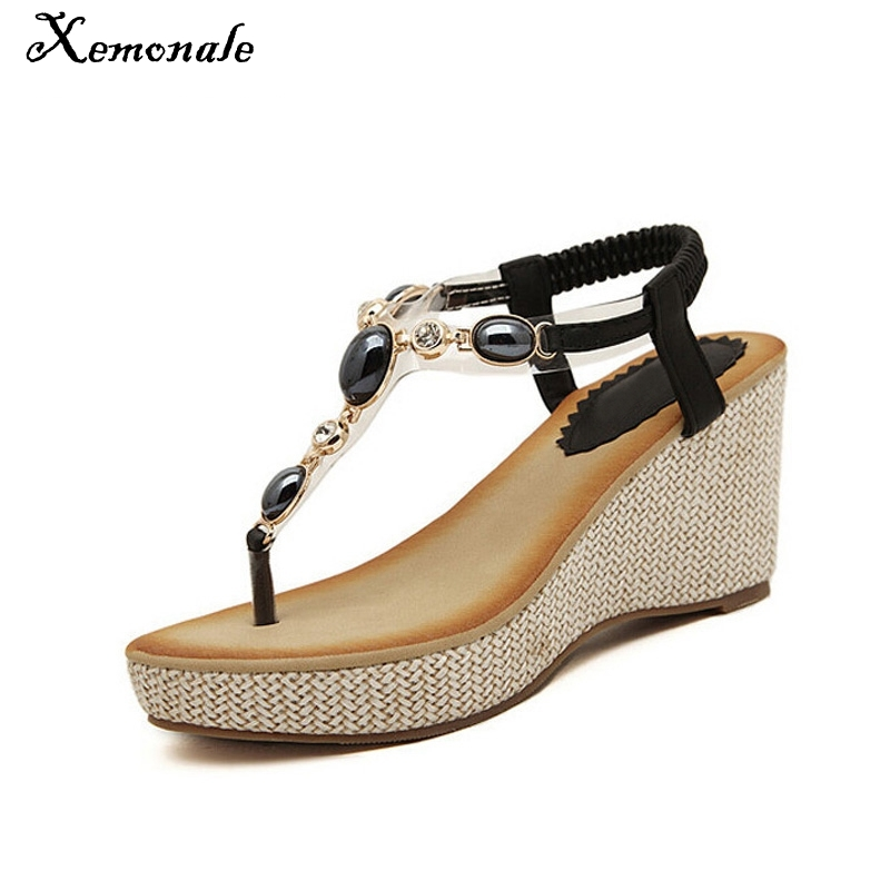 Xemonale 2017 Summer Shoes Woman Fashion Crystal Wedges Gladiator Platform Sandals String Bead Casual Women Shoes Size 35-40 women sandals 2017 summer style shoes woman wedges height increasing fashion star gladiator platform female ladies shoes casual