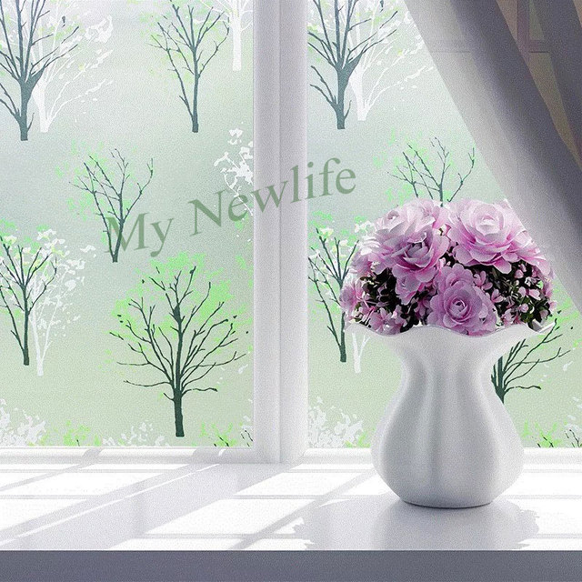 Stained tree Frosted Window Stickes PVC Waterproof Self-adhesive glass films sticker bedroom Privacy home decorative 45/60*500cm