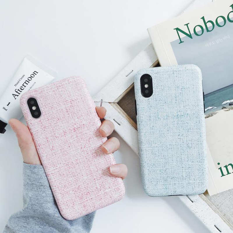 Women Small fresh Plaid Phone Case For iPhoneX/8 Mobile Shell for iphone7plus 6s All-inclusive Hard shell Solid color