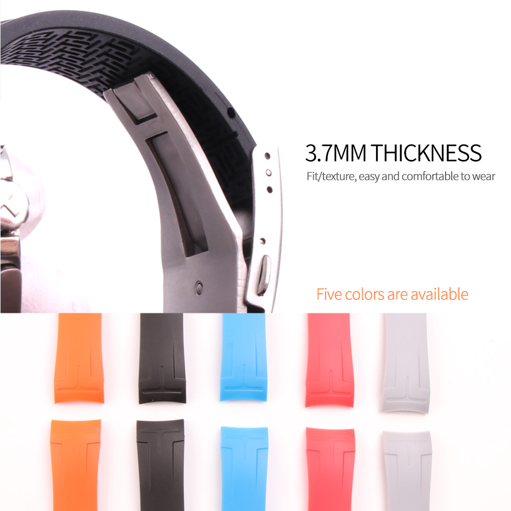 Image 3 - 22mm/23mm/24mm Silicone Watch Bands For Tissot T035407 T035.617 T035.439 Rubber Sport Men Watch Strap Black Watchband Waterproof-in Watchbands from Watches
