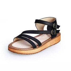 Image 2 - TIMETANG אישה סנדלי נעלי 2018 קיץ סגנון טריזי סנדלים שטוחים נשים אופנה רומא נעלי פלטפורמת עור אמיתי