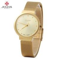 Julius Women Ultrathin Stainless Steel Mesh Band Quartz Wrist Watch