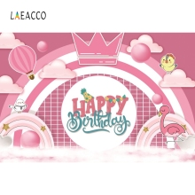 Laeacco Pink Crown Pattern Cartoon Backdrop Children Girl Portrait Photography Background Photographic For Photo Studio