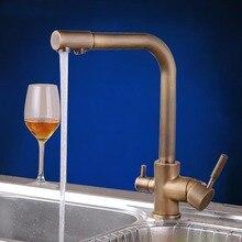 Античная кран очиститель воды fiter медь кухня Fauets горячей холодной смесителя 360 вращающиеся смесители