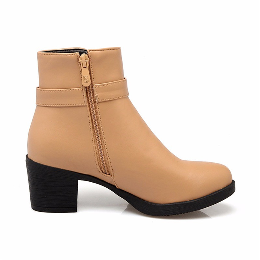 Spring Autumn Women Ankle Boots Square Low High Heels Woman Short Boots Shoes High Quality Plus Size 34-40.41.42.43 botas botte