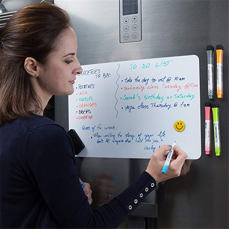 <font><b>A5</b></font> Magnetic <font><b>Whiteboard</b></font> Fridge Magnets Dry Wipe White Board Marker Writing Record Message Board Remind Memo Pad Kid Gift Kitchen image