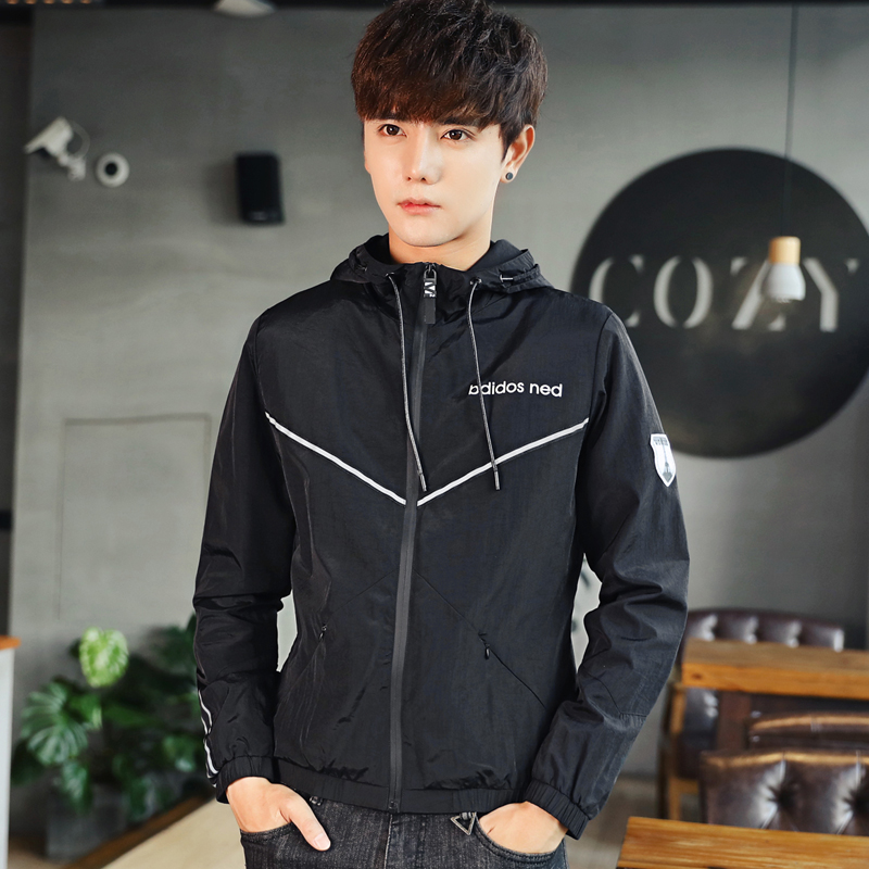 Men jacket coat 2018 spring autumn new black blue white slim male hooded jackets Fashion Casual outerwear Brand Mens Clothing