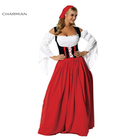 Charmian New German Bavarian Beer Oktoberfest Costume for Women Adult Swiss Miss Maid Wench Carnival Dress Costumes