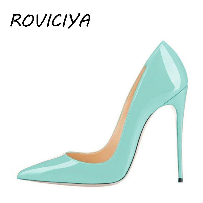 Classique mince talons hauts femmes robe chaussures 8/10/12 cm talons aiguilles femmes pompes fête chaussures été couleur QP003 ROVICIYA