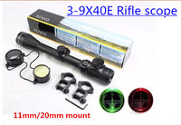 High quality Tactical 3 9x40E RED and GREEN Illuminated Rifle Hunting Scope & 20mm or 11mm free shipping
