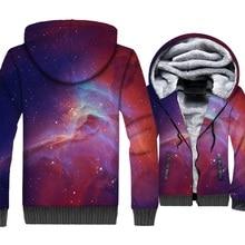 New Fashion Man Sweatshirts 2018 3D Pink Space Galaxy Hoodies Casual Unsiex Hoody Harajuku Zipper Thick Mens Jacket Funny Coats