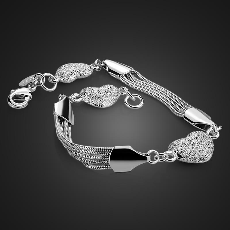 Fashion women sterling silver bracelet.Real solid 925 silver heart-shaped bracelet.Charming lady bracelet silver jewelry gift
