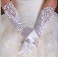 Angel Tree Wholesale In Stock Appliques Beading Wedding Glove Gants Mariage Woman Lace White Fingerless New