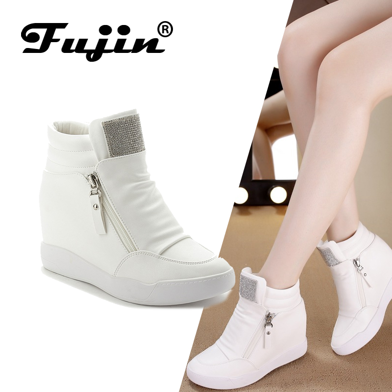 FUJIN Women Shoes Sneaker Ankle-Boots Comfortable Female Plush Lace-Up Brand Keep-Warm