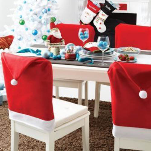 Red And White Santa Hat Christmas Chair Slip Covers