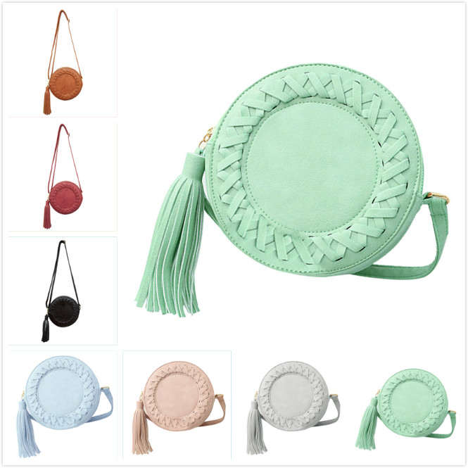 VSEN Fashion women bag tassel Round weave Crossbody Bag Messenger Bag Ladies Cute Knitting Circular roll Shoulder Bag 7 colors