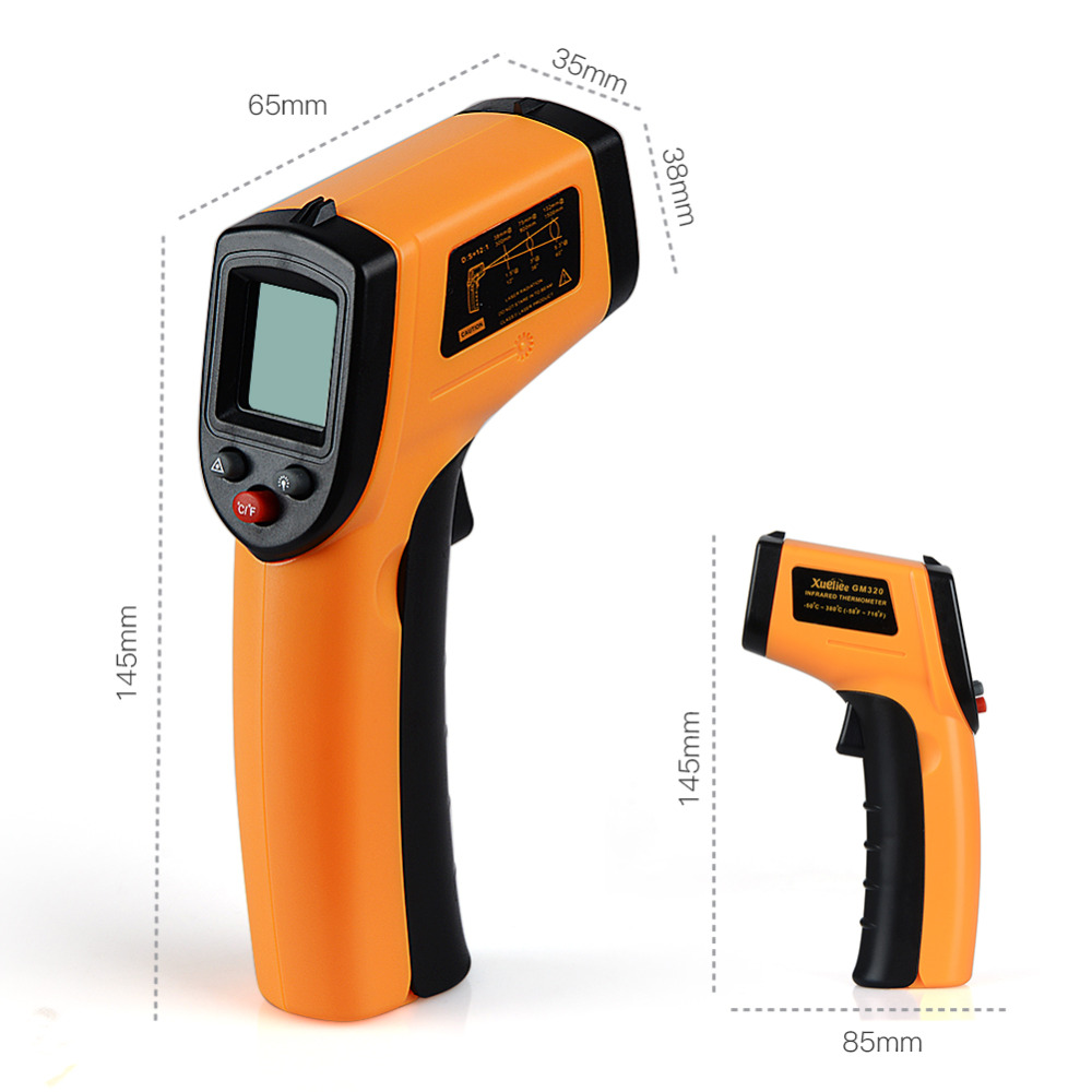 GM320 Non-Contact IR Infrared Thermometer Laser Temperature Measurement Instruments Temperature Analysis Test Gun Digital LCD