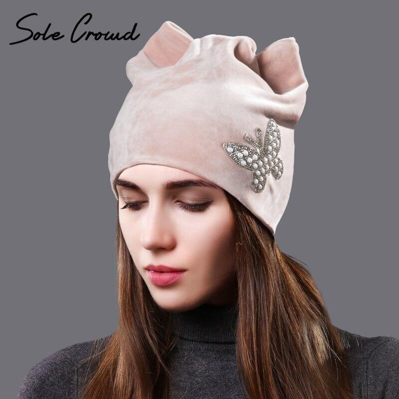 Suela multitud mariposa orejas de gato invierno cálido terciopelo sombreros para las mujeres sombrero lindo niñas moda damas otoño skullies gorros