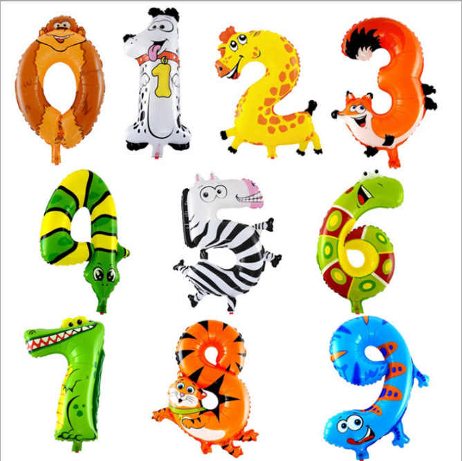 16inch Cartoon Animals Number Foil Balloons Digit Helium Ballons Birthday Party Wedding Decor Air Baloons Event Party Supplies