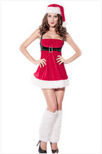 women Strapless Sexy christmas costumes Santa Envy Christmas Costumes sexy santa claus women christmas Red dress LC7162(China)