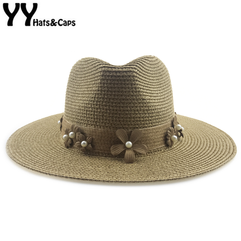 9354975a2 US $9.47 25% OFF Summer Sun Visor Cap for Women Holiday Beach Cap Straw  Panama Hats Wide Brim Vintage Felt Cap Lady Tea Party Hats Jazz YY18106-in  Sun ...