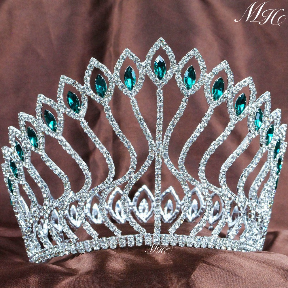Large Contoured Crowns Green Tiaras Diadem Rhinestones Crystal Wedding Bridal Pageant Party Costumes Hair Accessories цена