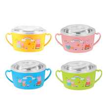 Large Stainless Steel Noodle Bowl with Handle Cartoon Food Container Rice Soup Bowls Instant Lid Spoon