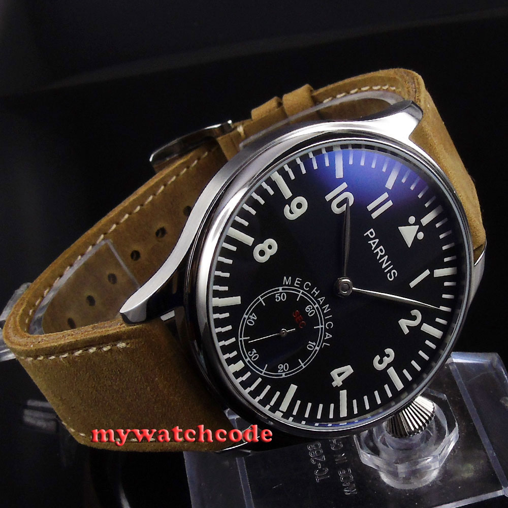 44mm parnis black dial blue luminous 6498 movement hand winding mens watch 398 цена и фото