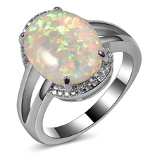 Hot Sale Exquisite White Fire Opal 925 Sterling Silver High Quantity Engagement Wedding Ring Size 5 6 7 8 9 10 11 A150
