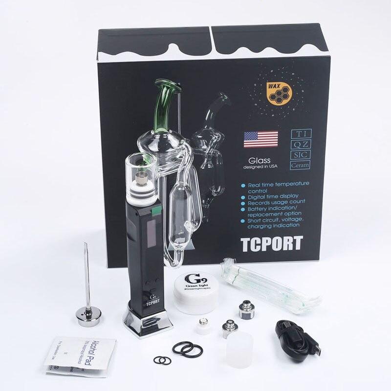 Autentico Greenlightvapes G9 TC Porta Starter kit 18650 3000 mAh Batteria Dab Cera Enail di Vetro Penna Vape Kit con Carb cap Dab Strumento
