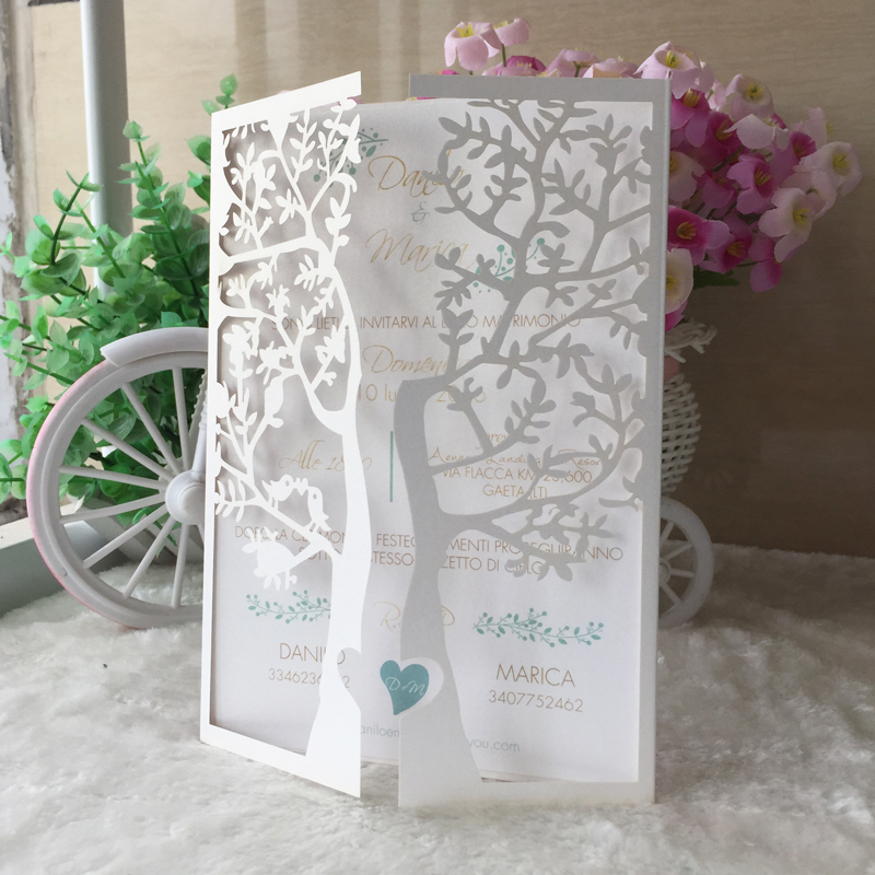 Image 3 - 50pcs Chic Tree Love Heart Birds Design Wedding Invitations Cards Laser Cut Wedding Birthday Decoration Christmas Greeting Cardsgreeting cards birthdaybirthday greetingscard birthday -