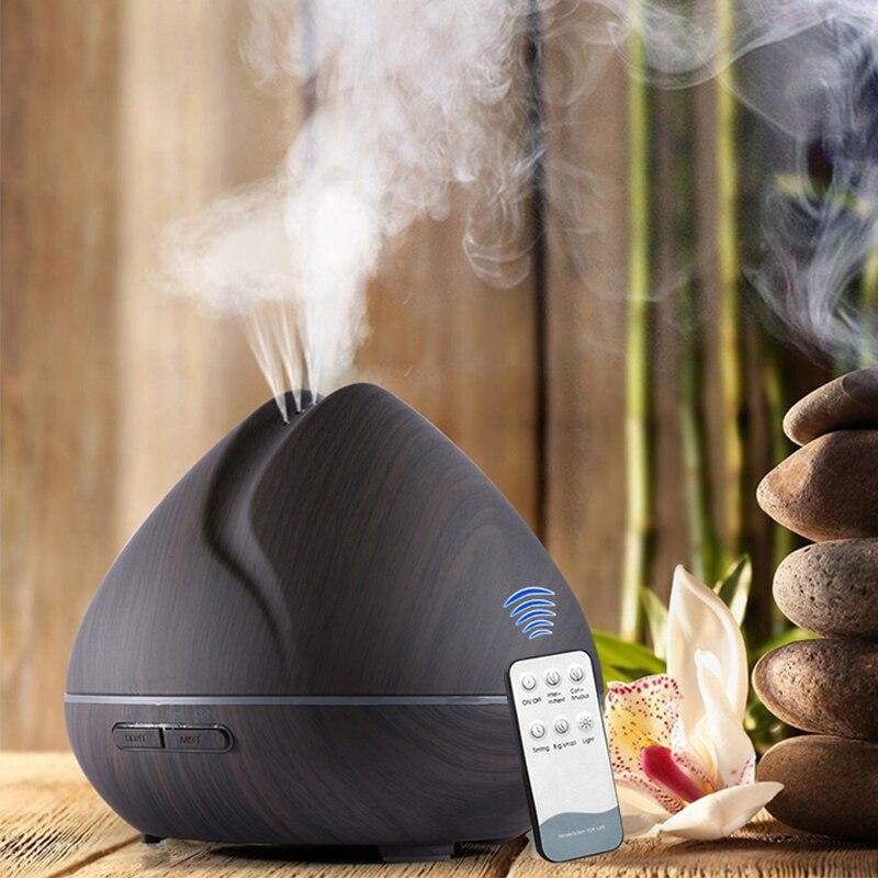 550 m aromaterapia aceite esencial Aroma difusor con grano de madera difusor de aromaterapia 7 Color de luz LED para el hogar humidificador de aire