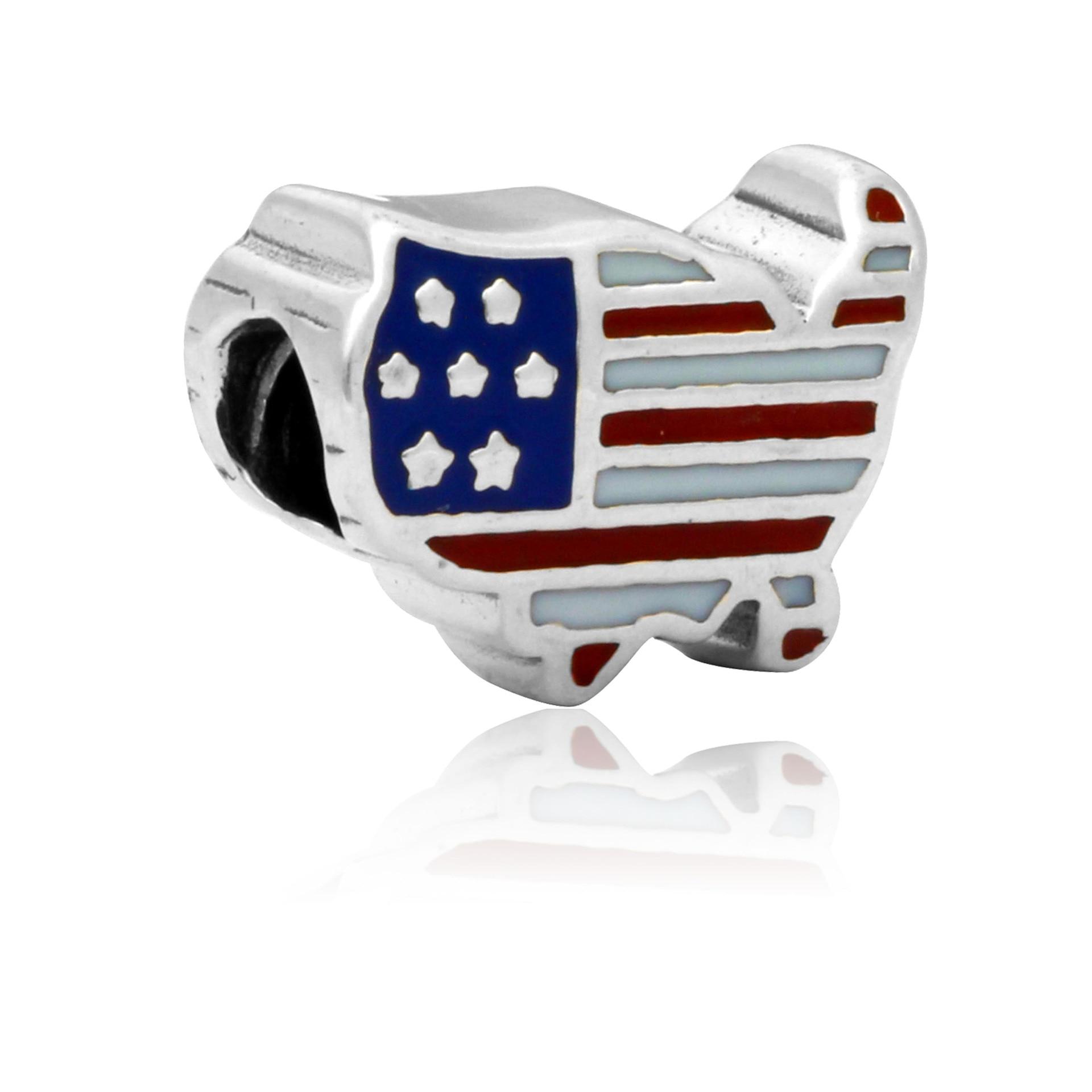 1pc atacado plata de ley 925 encantos bandeira americana grande buraco contas vermelho diy liga pulseira frisado enm228