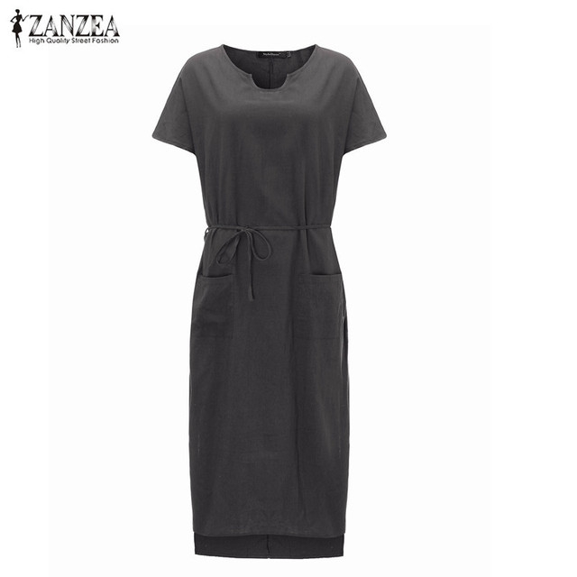 8660edea9 ZANZEA de moda 2019 algodón Casual + vestido de lino Maxi sólido colores manga  corta verano