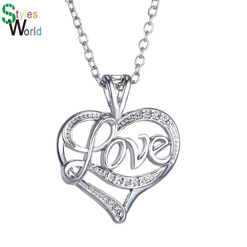 62eba87bb46a 2018 en argent sterling Pendentif Coeur Collier En Cristal de Charme  Colliers Pour Les Femmes Mode Bijoux Accessoires cadeaux du Jour de  Valentine