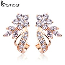 BAMOER Gold Color Stud Earrings with Flower Shape White/Multicolor AAA Zircon For Women Trend Jewelry JIE043(China)