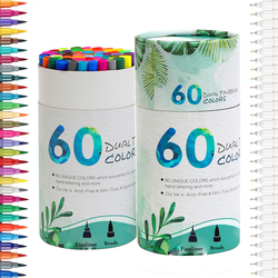 Dual Tip Marker Pens 60 Colors, Magicfly Watercolor Dual Brush Pen with Fineliner Tip 0.4 and Highlighters Brush Tip(1mm-2mm)