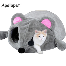 Warm, portable mouse-shaped cat bed / cave