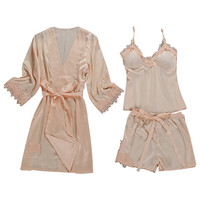 Womens Sexy Satin Sling Robe Sleepwear Lingerie Lace Nightdress Underwear Set Sleeping top women Sexy pajamas 6.27 0.5