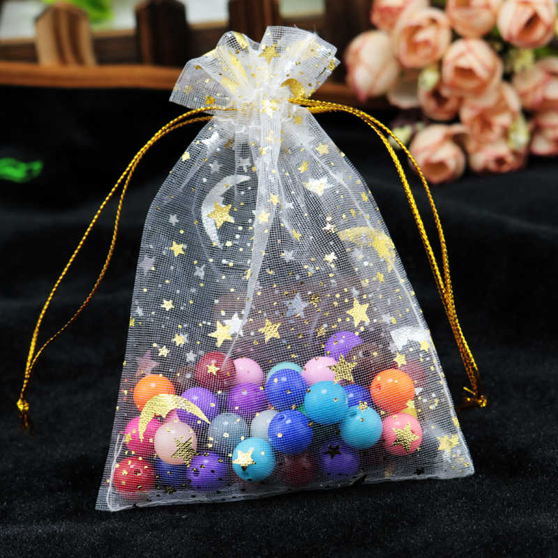 Hotsale 100 pz/lotto Moon Star Organza Borse 7x9 9x12 cm Piccolo Coulisse Sacchetto del Regalo Di Natale Fascino gioielli Packaging Bags & Pouches