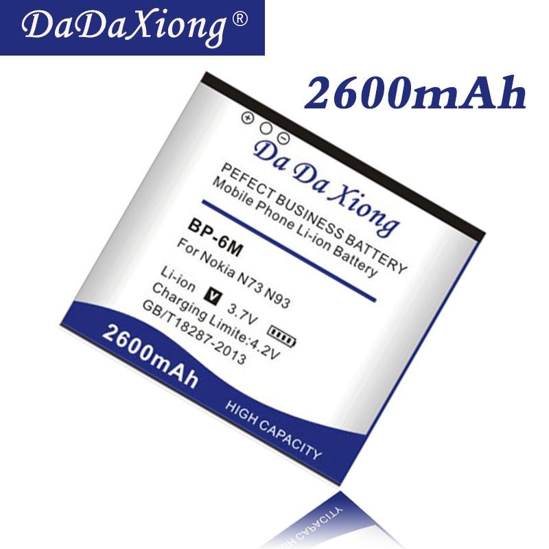 Da Da Xiong Original 2600mAh BP-6M Battery for Nokia N73 N77 N93 N93S 6151  6233 6234 6280 6288 9300 9300i Phone battery