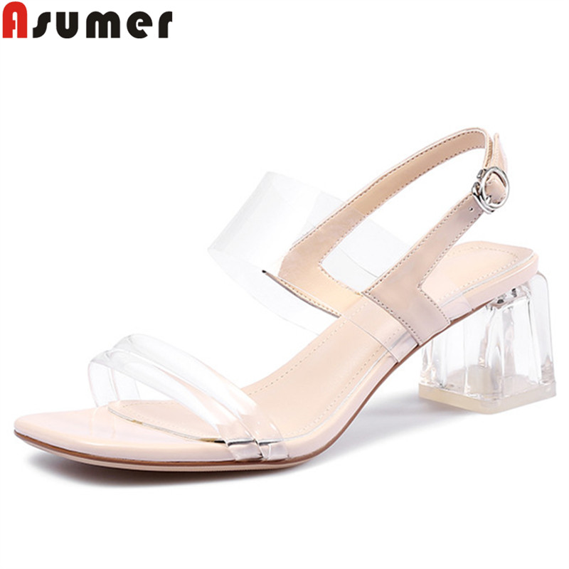 ASUMER Women Sandals Shoes Buckle Crystal-Heels Square Ladies New PVC