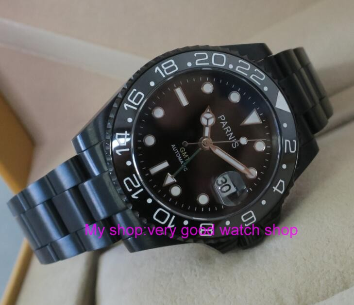 40MM PARNIS GMT Automatic Self-Wind movement black Ceramic bezel Sapphire Crystal luminous men's watch PVD case 0139 40mm parnis japanese automatic self wind movement sapphire crystal gmt men s watch gl25