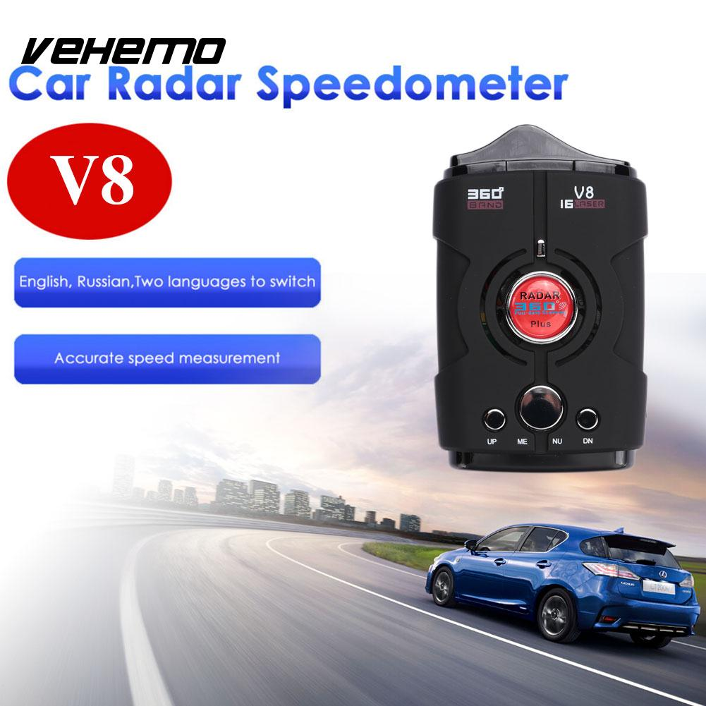 Vehemo Car Radar Tracker Speed Control Detector 360 Degrees LED Display Universal Vehicle Speed Control Voice Alert Warning