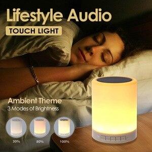 Image 2 - Đèn ngủ có Loa Bluetooth Di Động Không Dây Bluetooth Điều Khiển Cảm Ứng ĐÈN LED Màu Đầu Giường Đèn