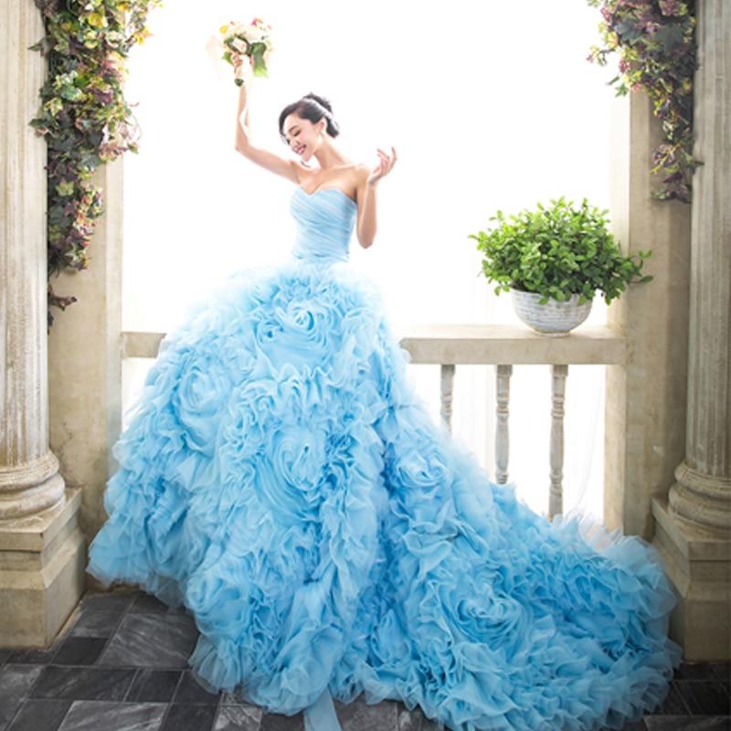 Buy modest light blue flowers wedding for Wedding dress light blue
