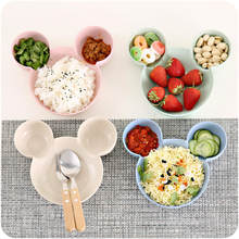 Kid Bowl Dishes Cartoon Mouse Lunch Box Kid Baby Children Infant Baby Rice Feeding Bowl Plastic Snack Plate Tableware(China)