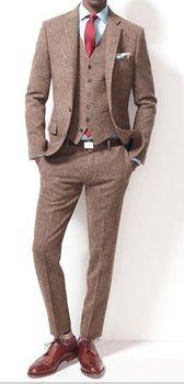 Latest Coat Pant Designs Brown Tweed Men Suit Slim Fit 3 Piece Stylish Tuxedo Custom Groom Blazer Prom Suits Terno Masuclino S67